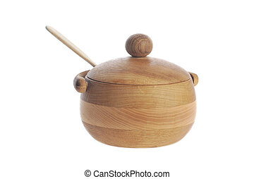 wooden sugar bowl close up