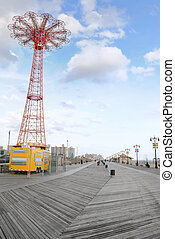 Coney Island Boardwalk - NEW YORK CITY - OCTOBER 25: The...
