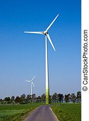 Two windwheels in the fields