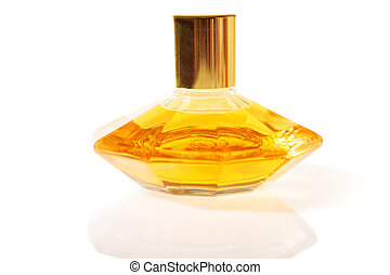 Bottle of perfume, isolated on white close up