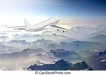 Boeing 747 in sky - Boeing 747 flying above the clouds in...
