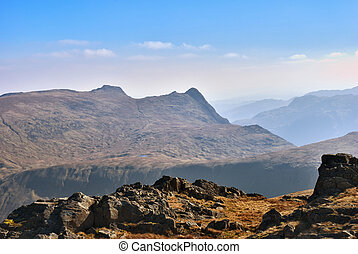 Langdale Pikes - Scenic view of Langdale Pikes viewed from...