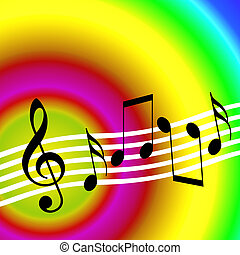 Music Rainbow - Colorful music background with random...