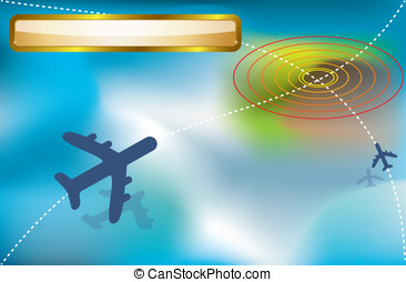 passenger plane on the way to the blue ground. vector dotted...
