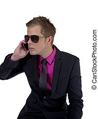 Young businessman with a mobile