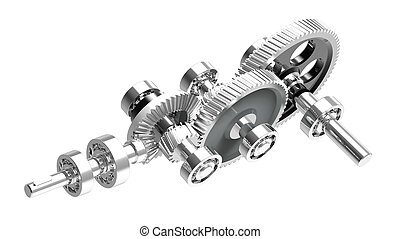 Speed reducer - Mechanism concept 3d render of a speed...