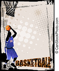 Basketball abstract background - Action players, on grunge...