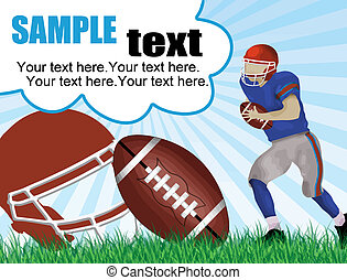 American football poster with space for your text, vector...