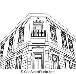 Building Corner Eclectic House Vector