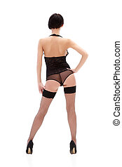 Black lingerie - Brunette lady in black lingerie isolated on...