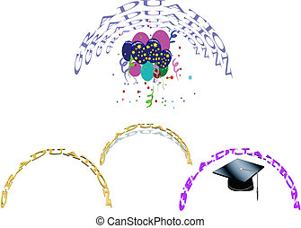 graduation decorations on white in semi circle in 3d