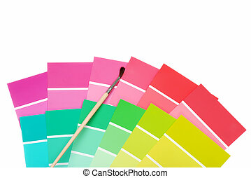 color chips with paint brush