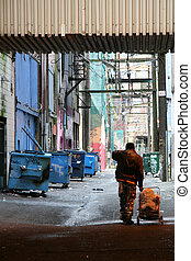 Back Street Alleys in Vancouver City, BC, Canada - Back...