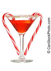 red martini with two candy canes