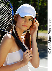 headshot woman tennis player - headshot of young woman...