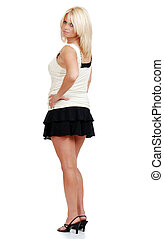 mature blond woman in mini skirt - isolated mature blond...