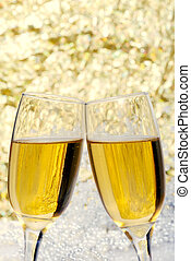 new years eve champagne toast - closeup of new years eve...