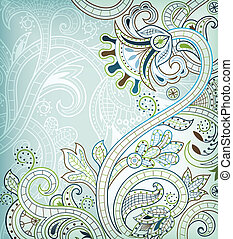 Aqua Blue Floral - Illustration of abstract swirly floral...