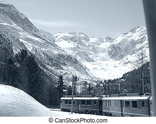 Bernina - View of Piz Bernina Alps mountains in Switzerland