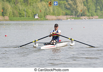 Disabled Rower - Disabled skiff rower, during a powerful...