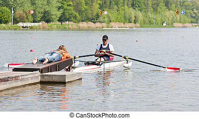 Rowing start - Disabled skiff rower, during the first strike...