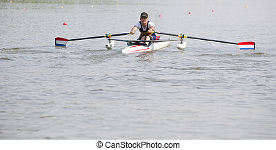 Rowing stroke - Disabled oarsman during the start of a...