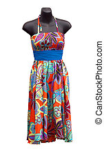 Shop Mannequin wearing a floral Dress isolated with clipping...