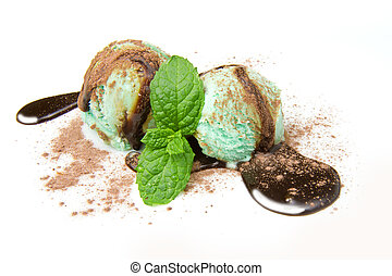 mint ice cream - Delicious mint ice cream ball on white...