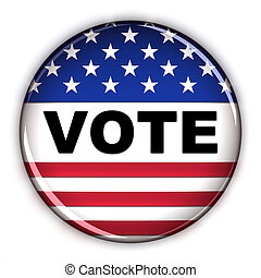 Vote button - Patriotic vote button over white background