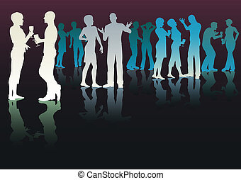 Color party - Editable vector silhouettes of people...