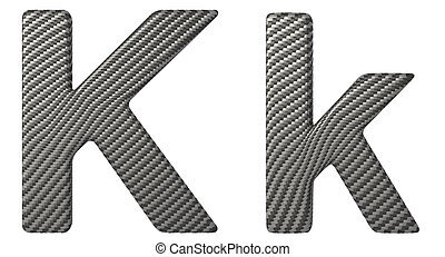 Carbon fiber font K lowercase and capital letters isolated...