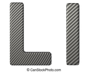 Carbon fiber font L lowercase and capital letters isolated...