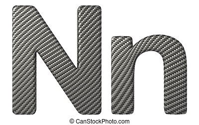 Carbon fiber font N lowercase and capital letters isolated...