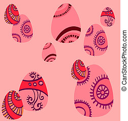 Pink background with ornate Easter eggs