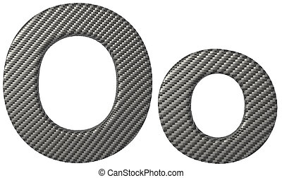 Carbon fiber font O lowercase and capital letters isolated...