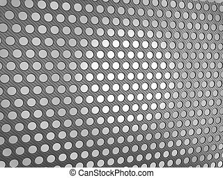 Carbon fibre surface with holes over studio light background
