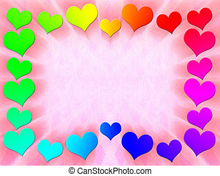 Frame of multi-colored hearts