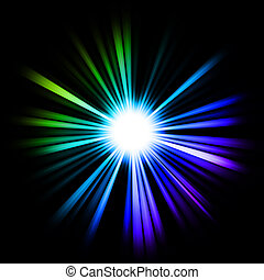 Green, blue and lilac Beams of light: shining star in the...