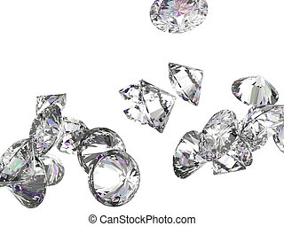 Large gemstones isolated on white - Large diamonds or...