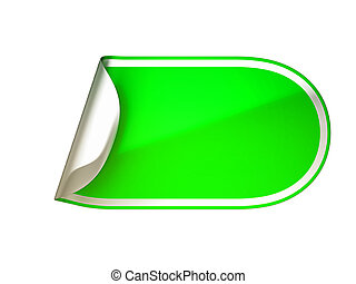 Rounded green bent sticker or label