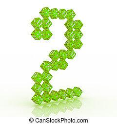 Dice Font. Letter 2 - Dice font letter 2. Green refractive...