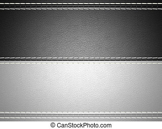 Black and grey horizontal stitched leather background