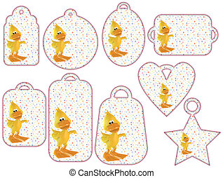 Tag collection with cute 3D ducks