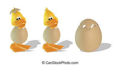 Cute 3D duck and egg