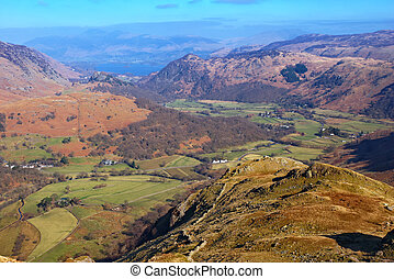 Lake District National Park - Looking down Borrowdale in the...
