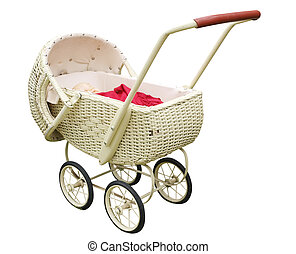 Vintage Cane Pram isolated with clipping path