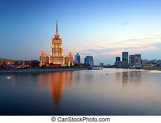 Night Moscow Moscow River Hotel Ukraine - Night Moscow...