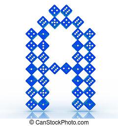 Dice Font. Letter A - Dice font letter A. Blue refractive...