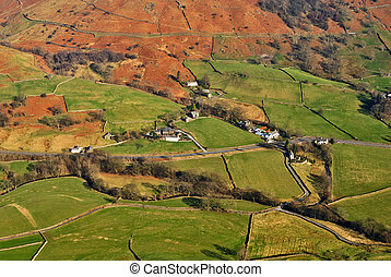Aerial view of rural fields - Aerial view of dry stone walls...