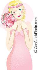 blonde bride winking